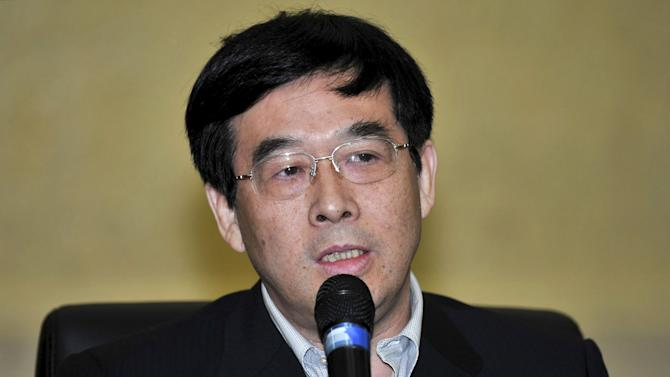Pan Zhichen, director of the sports ministry's volleyball administrative centre, speaks at a news conference in Beijing