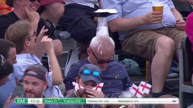 Cricket fan dozes off in the stands