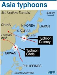 Map locating the paths of Typhoon Saola and Typhoon Damrey