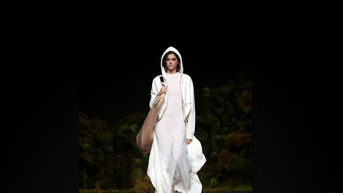 A model presents a creation from Oliva's Fall/Winter 2017 collection during the Mercedes-Benz Fashion Week in Madrid