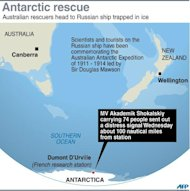 Map showing the area in the Antarctic where a Russian ship is trapped in ice