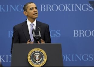 AP/President Barack Obama talking jobs at the Brookings Institution.