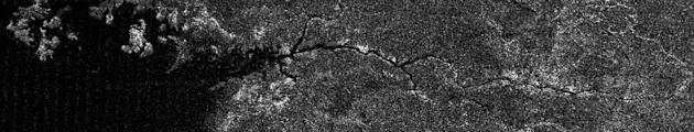The image was acquired on 26 September 2012, on Cassini's 87th close flyby of Titan. The river valley crosses Titan's north polar region and runs into Kraken Mare, one of the three great seas in the high northern latitudes of the moon.