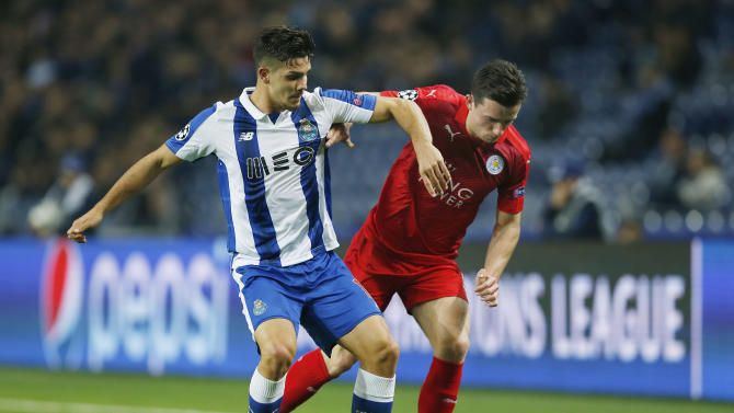 Leicester City's Ben Chilwell in action with FC Porto's Andre Silva