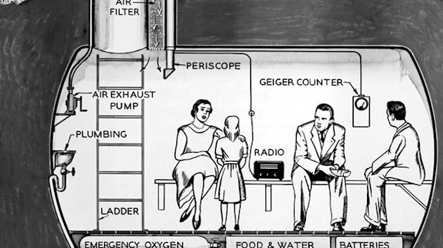 This illustration depicts a family in their underground lead fallout shelter, equipped with a Geiger counter, periscope, air filter, in early 1960s. (...