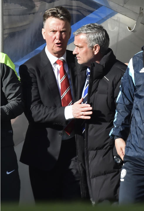 Football: Manchester United manager Louis van Gaal and Chelsea manager Jose Mourinho