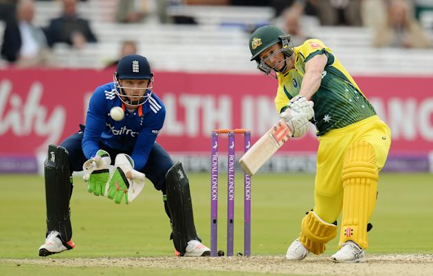 Australia's George Bailey hits out watched by England's Jos Buttler