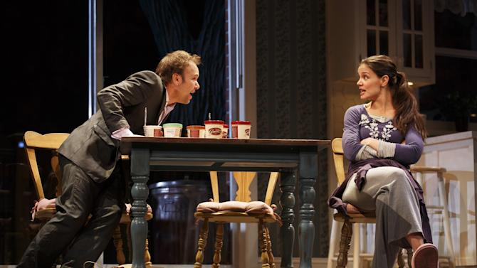 """This undated publicity photo provided by Boneau/Bryan-Brown shows Nobert Leo Butz as Jack, left, and Katie Holmes as Lorna, in a scene from """"Dead Accounts,"""" by Theresa Rebeck, at Broadway's Music Box theatre in New York. (AP Photo/Boneau/Bryan-Brown, Joan Marcus)"""