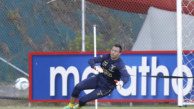 Ecuador's Esteban Dreer takes part in a training session at Ecuador's national team headquarters in Quito