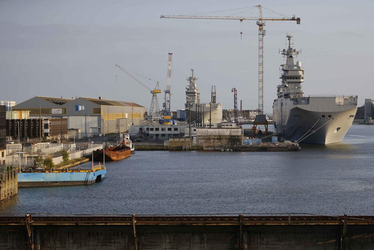 Two Mistral-class helicopter carriers Sevastopol and Vladivostok are seen at the STX Les Chantiers de l'Atlantique shipyard site in Saint-Nazaire, western France