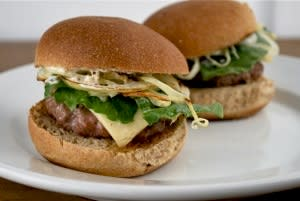 Easy Sliders with Caramelized Onions and Horseradish Mayo
