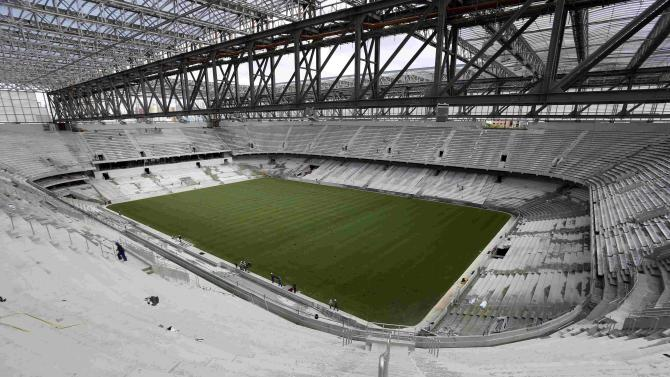 General view of the interior of Arena da Baixada soccer stadium as it is being built to host matches of the 2014 World Cup in Curitiba