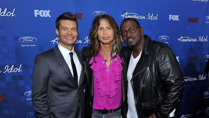 """Ryan Seacrest, Steven Tyler, and Randy Jackson arrive at the """"American Idol"""" Top 13 Finalists Party on Thursday, March 3, 2011 at The Grove in Los Angeles, CA."""
