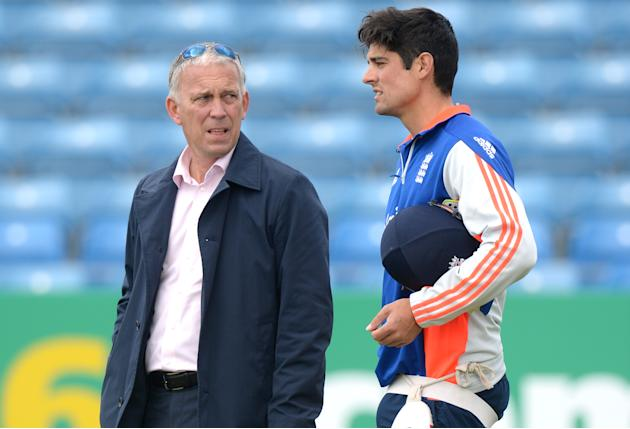Cricket: England's Alastair Cook with selector James Whitaker during nets