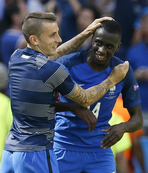 France's Blaise Matuidi and Lucas Digne celebrate after the game