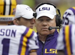 The Badgers face a difficult test in Les Miles and the LSU Tigers. (AP)