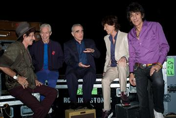 Keith Richards , Charlie Watts , director Martin Scorsese , Mick Jagger and Ron Wood in Paramount Pictures' Shine a Light