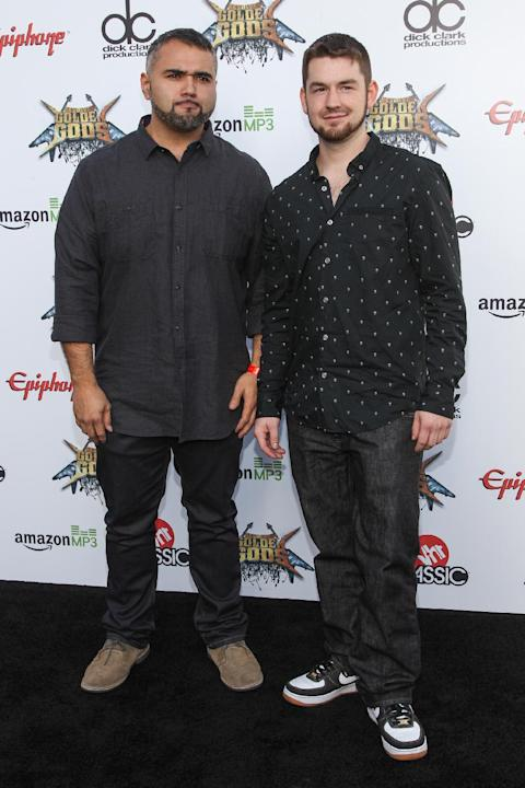 Javier Reyes, left, and Matthew Garska of Animals As Leaders attend the 6th Annual Revolver Golden Gods Award Show at Club Nokia on Wednesday, April 23, 2014 in Los Angeles. (Photo by Paul A. Hebert/I