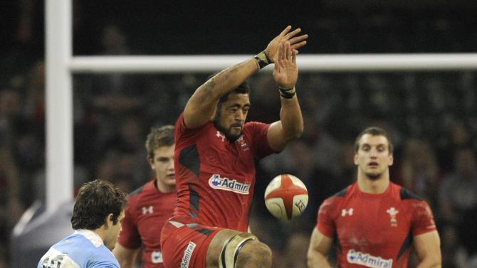 Argentina's Nicolas Sanchez attempts a drop goal as Wales' Toby Faletau attempts the stop, during their international rugby union match at the Millennium Stadium in Cardiff