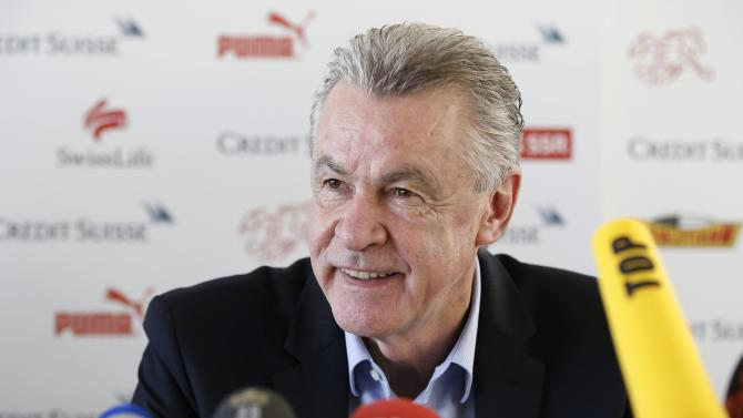 Switzerland's head coach Ottmar Hitzfeld speaks during a news conference in Bern, Switzerland, Thursday, Oct. 17, 2013, where he announced that he will leave his job after the soccer World Cup in Brazil. Hitzfeld, who will be 65 after the tournament in Brazil, made his announcement barely an hour after Switzerland rose to No. 7 in the FIFA world rankings, making it one of the eight seeded teams