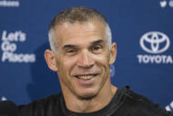 New York Yankees manager Joe Girardi speaks with members of the media during a news conference at the team's baseball spring training facilities, Tuesday, Feb. 14, 2017, in Tampa, Fla. (AP Photo/Matt Rourke)