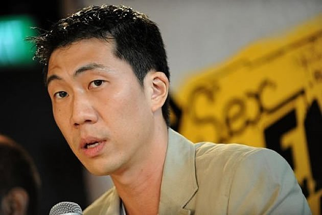 "Local film director Ken Kwek speaking at a press conference last year with regard to his debut film, ""Sex.Violence.FamilyValues"", that was initially banned in October. (AFP file photo)"
