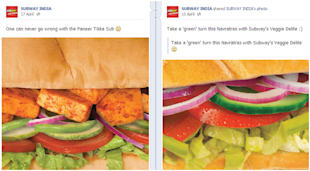 Social Media Strategy Review: Restaurants and Cafes image Subway India social media update