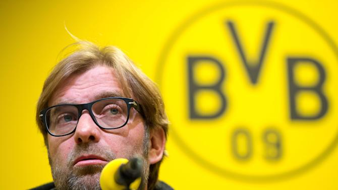 Dortmund's  coach Juergenn Klopp  attends a press conference in Dortmund , western Germany, Thursday Nov. 21, 2013. The team of Borussia Dortmund  will face rival Bayern Munich in a Bundesliga soccer match on Saturday Nov. 23, 2013