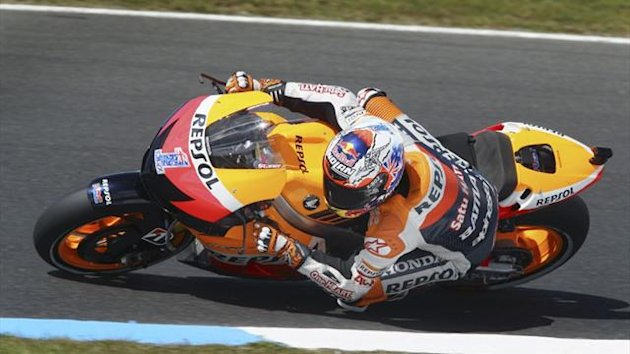 Honda MotoGP rider Casey Stoner of Australia takes a corner during a free practice session ahead of the Australian GP at Phillip Island (Reuters)
