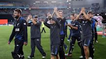 New Zealand players thank their fans after their victory in the semi-final Cricket World Cup match between New Zealand and South Africa at Eden Park in Auckland on March 24, 2015