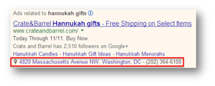 Holiday PPC Planning: Three Advanced Strategies for AdWords image holiday location extensions text ad