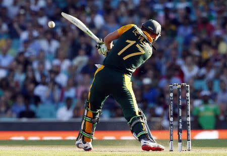 South Africa's AB de Villiers hits a six during the Cricket World Cup match against the West Indies at the SCG