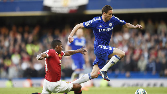 Football: Chelsea's Nemanja Matic in action with Manchester United's Antonio Valencia