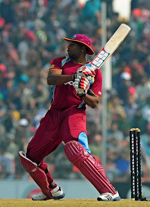West Indies cricketer Kieron Pollard plays a shot during the first one day international cricket match between Bangladesh and The West Indies at The Sheikh Abu Naser Stadium in Khulna on November 30,