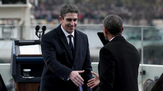 President Barack Obama greets poet Richard Blanco on the West Front of the Capitol in Washington, Monday, Jan. 21, 2013, after Blanco's reading at the president's ceremonial swearing-in ceremony during the 57th Presidential Inauguration.  (AP Photo/Win McNamee, Pool)