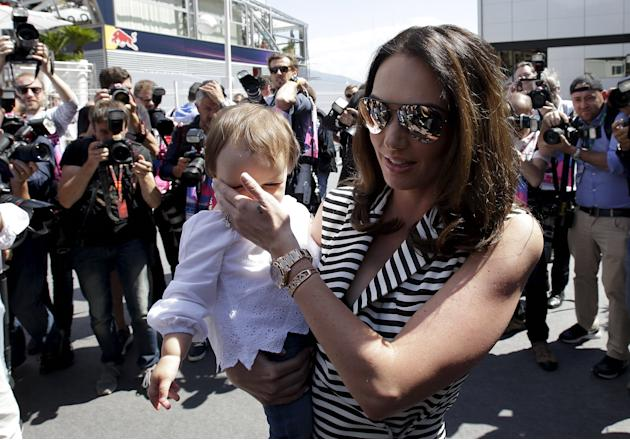 Tamara Ecclestone holds her daughter Sophia as they arrive at the paddock before the Monaco F1 Grand Prix