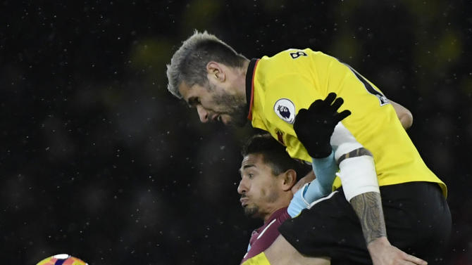 West Ham United's Manuel Lanzini in action with Watford's Valon Behrami