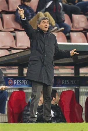 Dnipro Dnipropetrovsk's coach Ramos gestures during their Europa League soccer match against PSV Eindhoven in Eindhoven