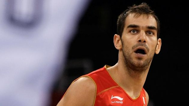 Calderon of Spain watches the action during their men's preliminary round group B basketball game against Germany at the Beijing 2008 Olympic Games