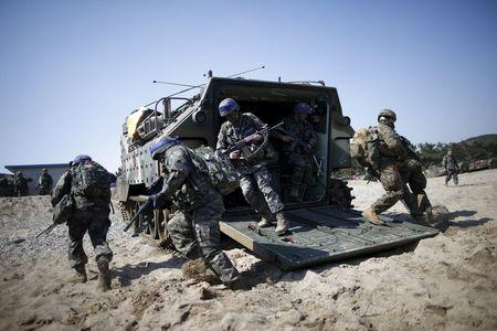 South Korean and U.S. Marines take part in a U.S.-South Korea joint landing operation drill in Pohang