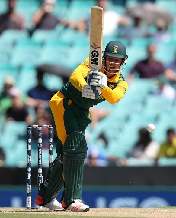 South Africa's Quinton De Kock bats during their Cricket World Cup Pool B match against the West Indies in Sydney, Australia, Friday, Feb. 27, 2015. (AP Photo/Rick Rycroft)