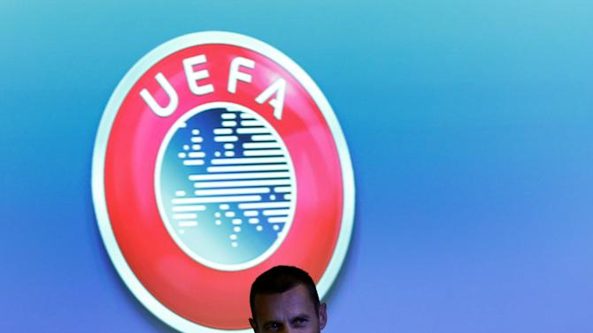 UEFA President Ceferin arrives for a news conference after an Executive Board meeting in Nyon