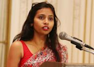 India's Deputy Consul General in New York, Devyani Khobragade, attends a Rutgers University event at India's Consulate General in New York, June 19, 2013. India urged the United States to withdraw a visa fraud case against Khobragade, one of its diplomats in New York on December 19, 2013, suggesting that Secretary of State John Kerry's expression of regret over her treatment in custody was not enough. Picture taken June 19, 2013. REUTERS/Mohammed Jaffer/SnapsIndia (UNITED STATES - Tags: POLITICS SOCIETY CRIME LAW) FOR EDITORIAL USE ONLY. NOT FOR SALE FOR MARKETING OR ADVERTISING CAMPAIGNS