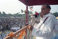 Rajiv Gandhi addresses an election campaign meeting in Kishan Gunj, Bihar on May 5, 1991. REUTERS/K.M. Kishan/Files