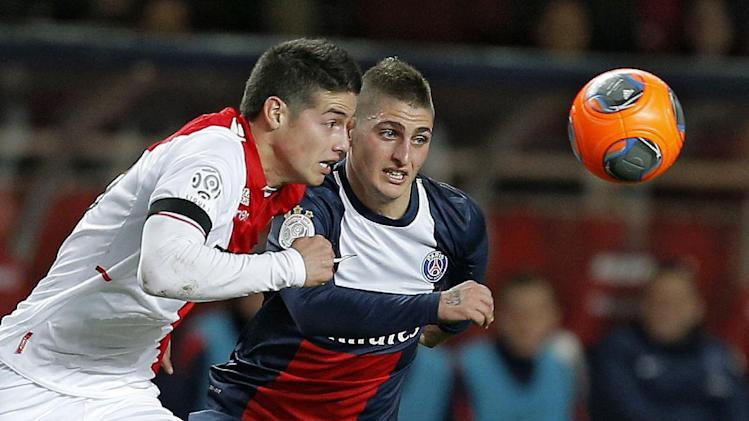 Monaco's James Rodriguez of Colombia, left, challenges for the ball with Paris Saint Germain's Marco Verratti of Italy during their French League One soccer match, in Monaco stadium, Sunday, Feb. 9 , 2014
