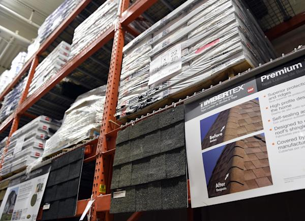 . 23, 2015 photo, roofing materials are on display at the Home Depot ...