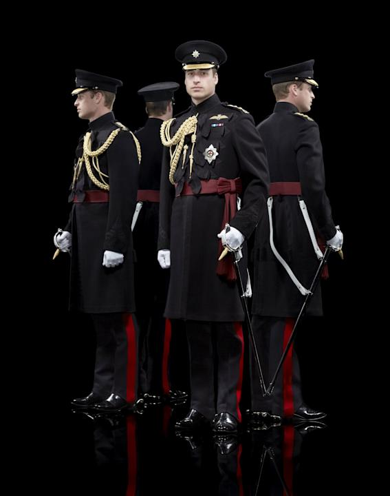 Handout shows Britain's Prince William wearing his frockcoat for the Irish Guards, in a portrait taken by British photographer Hugo Rittson Thomas