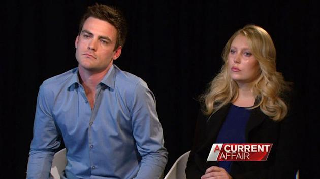 """Sydney radio station 2Day FM presenters Michael Christian (L) and Mel Greig appear on a Channel Nine Network news discussion show """"A Current Affair"""" on December 10, 2012. Greig sobbed as she recalled hearing the news that a nurse had been found dead"""