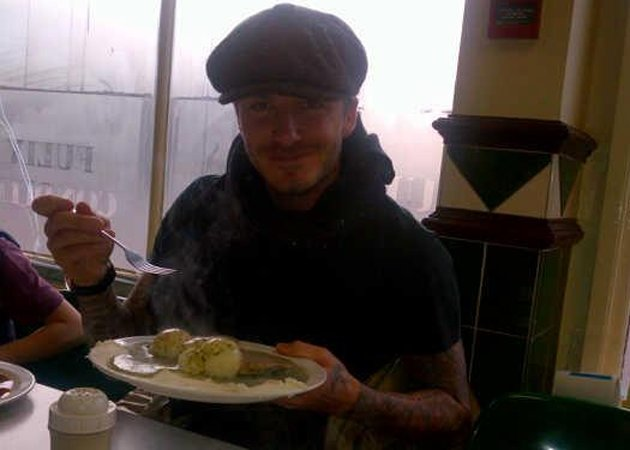 David Beckham, pie and mash