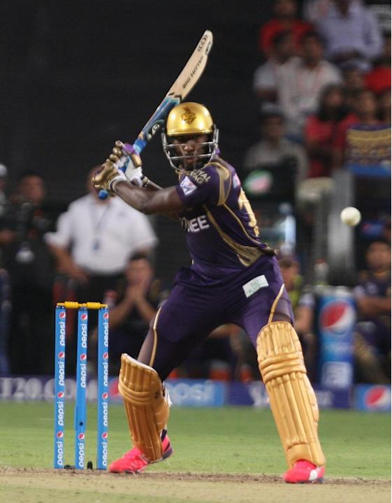 Pune: KKR batsman AD Russell in action during an IPL-2015 match between Kolkata Knight Riders and Kings XI Punjab at Maharashtra Cricket Association Stadium, in Pune, on April 18, 2015. (Photo: Nitin